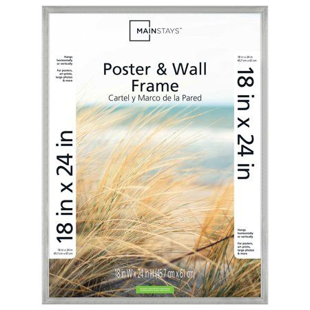Mainstays 18x24 Silver Metallic Poster And Picture Frame Walmart Com Brass Picture Frames Picture Frame Sizes Picture Frames For Sale