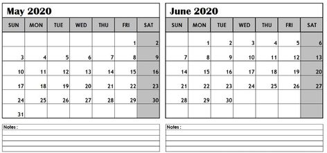 May June 2020 Calendar Printable Templates 2019 Calendar