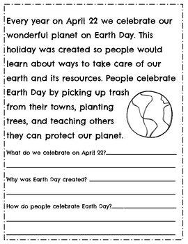 Earth Day Reading Comprehension Passages Questions Earth Day
