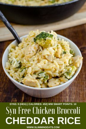 This delicious Syn Free Chicken Broccoli Cheddar Rice in cooked all in one pan and ready in 30 minutes. Perfect comfort food for the entire family to enjoy. Gluten Free, Slimming World and Weight Watchers friendly