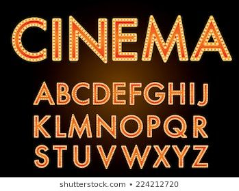 Vector Golden Font Bulbs Separate Layer Stock Vector Royalty Free 176814815 In 2020 Lettering Neon Signs Cinema