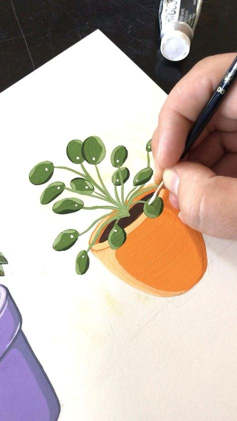 🧡 Gouache Painting Pilea Potted Plant - #artdrawings