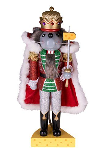 Traditional Wooden Mouse King Nutcracker by Clever Creations | Sword and Cheese Stand