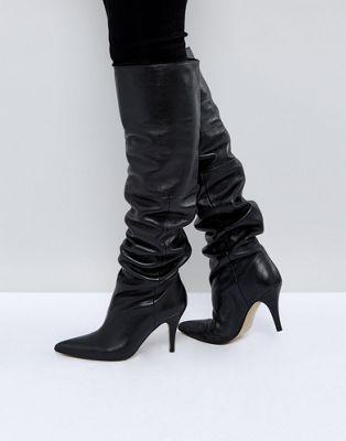 ASOS KLARA Stivali cuissard flosci di pelle | Tacchi