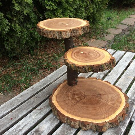 Rustic Cake stand Cupcake Stand Wedding Large Log Elm Wood wooden 3 tiered Step tree outdoor shower wedding Party donut dessert