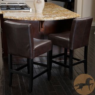 Christopher Knight Home Lopez Brown Leather Counterstools Set Of 2 Leather Counter Stools Brown Leather Bar Stools Counter Stools
