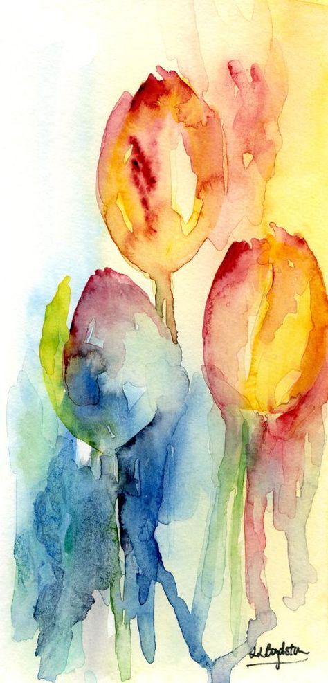 Free Ship Original Watercolor Abstract Tulip por watercolorwork