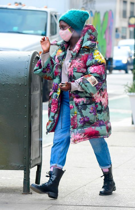 This weekend, Jodie Turner-Smith took a stroll around SoHo in New York City with her husband, Joshua Jackson, and their nine-month-old baby girl, Janie. The British actor and model looked the part of a fashionable new mom herself, slipping into a casual-casual look for the outing. Her winter coat was by one of fashion's buzziest collaborations of the moment: a Gucci x The North Face puffer coat that was covered in a sprightly floral print.