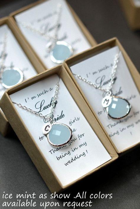 Menta PAL, collar de oro de ópalo verde de menta, regalos de la dama de honor boda novia dama de honor joyería-dama de honor, personalizada