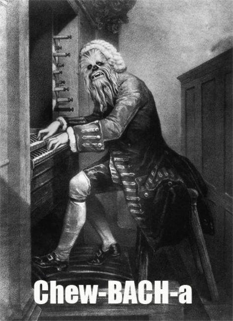 """Chew-Bach-A"". Star Wars and Bach. Nerd dream come true. Sebastian Bach, Chewbacca, Johann Bach, Music Jokes, Drawn Art, Star Wars Film, The Force Is Strong, Star Wars Humor, Star Wars Puns"