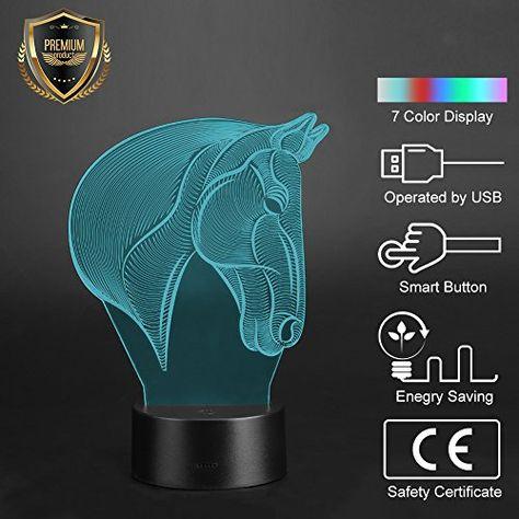 Yosoo Lampe Cheval 3d Lampe De Table Lampe De Bureau Lampe Veilleuse Led Lumiere Eclairage De Nuit Decoration P Eclairage De Nuit Veilleuse Led Lampe Veilleuse