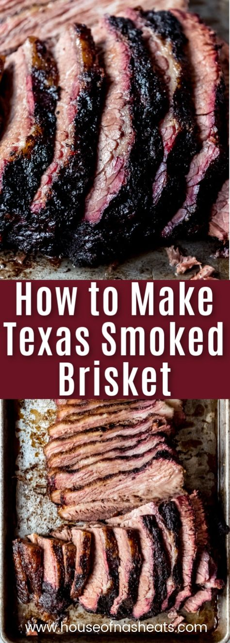 Get ready to create the most juicy mouthwatering Texas Smoked Brisket in your own backyard using a wood or pellet smoker. These are all my best tips & tricks for making the best smoked beef brisket that is perfect for your next outdoor BBQ. Brisket Marinade, Beef Brisket Recipes, Smoked Beef Brisket, Smoked Meat Recipes, Rub Recipes, Texas Brisket, Cooking Brisket, Smoker Cooking, Brisket In Smoker