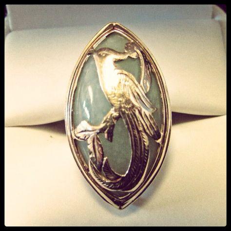Mings Phoenix gold overlay on jade ring