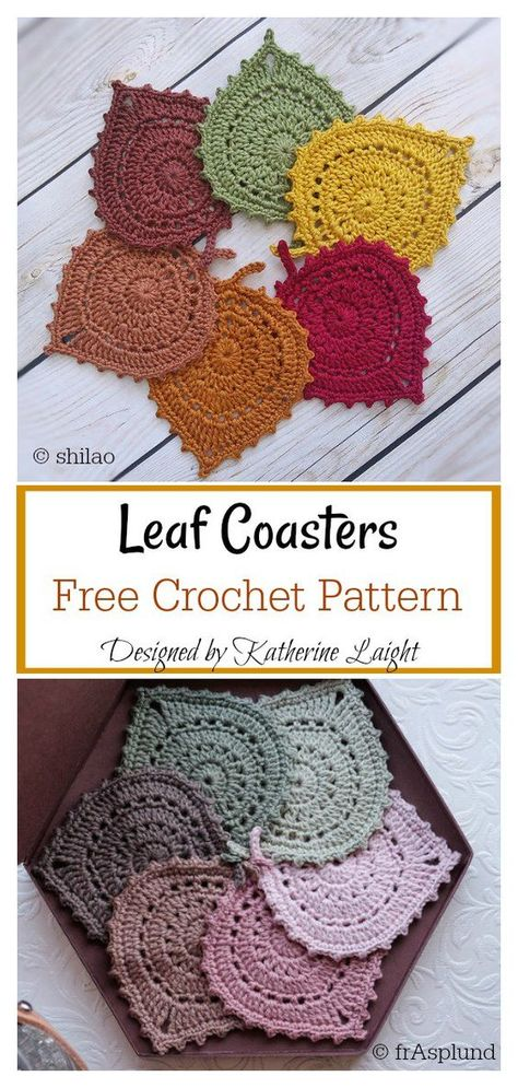 Terrific Snap Shots Crochet coasters cute Tips Leaf Coasters Free Crochet Pattern Crochet Leaves, Crochet Motifs, Crochet Flower Patterns, Doily Patterns, Crochet Doilies, Crochet Flowers, Knitting Patterns, Pattern Flower, Crochet Ideas