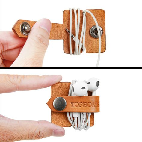 Earphone Headphone Organizer USB Cable Holder Handmade Italian Leather Genuine Leather
