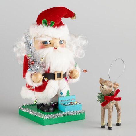 Set Of 2 Skiing Felt Father Christmas Santa Fun Decoration Mantel Table