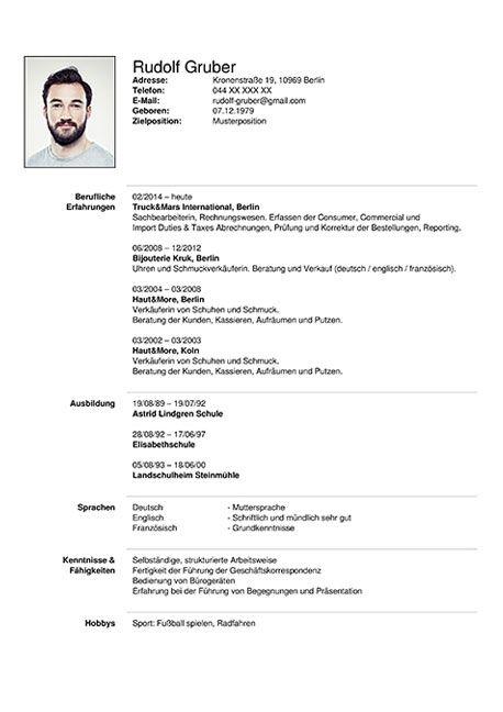 German Tabular Cv Template Dares Lebenslauf Online Bewerbung Lebenslaufvorlage