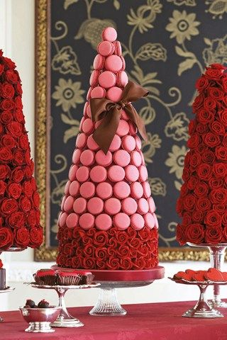 Wedding cake alternative - a tower of macaroons in a rich pink shade.