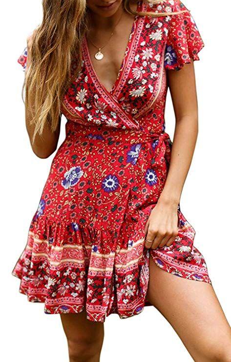 Fashion Women/'s Print Causal Short Sleeve Mini Dress V-neck Summer Ladies Dress