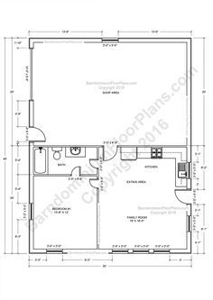 bedroom bath barndominium floor plan for foot wide building with   shop area house plans also rh pinterest
