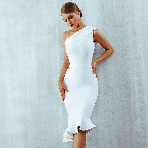 9e880a1b8f42 One Shoulder Bodycon Dress Midi Bandage Dress - TOPQUEENSTYLE