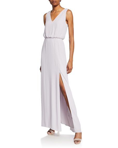 WAYF The Bella V-Neck Sleeveless Gown with Front Slit in 2019 | BMs