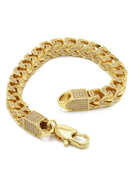 14k Gold Mens Iced Out Solid Franco
