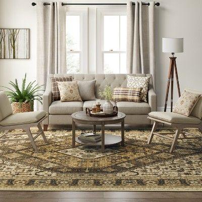 10 X13 Medallion Woven Area Rug Brown Threshold Living Room Home Living Room Designs