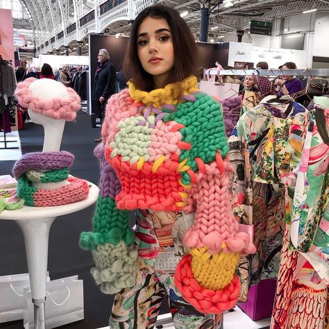 """HOPE MACAULAY on Instagram: """"Throwback to @nara.agayeva at our stand at @purelondonshow wearing the Colossal Knit Jumper and the Surreal Suit High Waisted Trousers 🌙🕊…"""""""