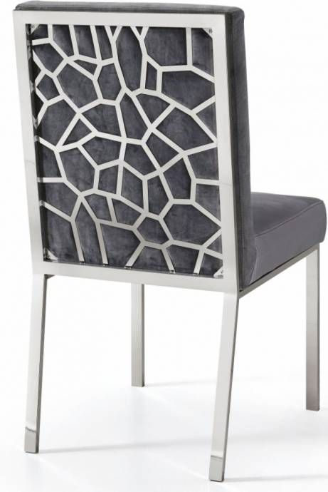 Meridian Furniture 736 Opal Grey Velvet Chrome Steel Dining Chairs