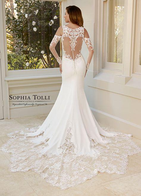 b4115458144d Stretch Satin Crepe V-Neck Fit   Flare Wedding Dress- Y11959A ...