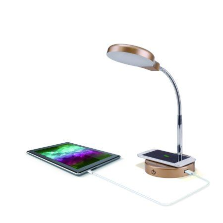 Mainstays Led Desk Lamp With Qi Wireless Charging And Usb Port Gold Walmart Com Led Desk Lamp Desk Lamp Wireless Charging Lamp