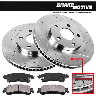Fits 2006 Dodge Ram 1500 Rear Drill Slot Brake Rotors+Ceramic Brake Pads