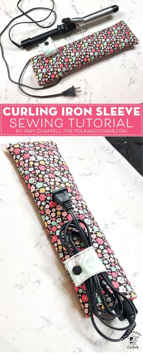 How to make a travel case for a curling iron. A free travel curling iron case sewing pattern. Learn how to make a travel curling iron sleeve with this free sewing pattern. A cute heat resistant pouch for a curling iron or flat iron. Small Sewing Projects, Sewing Projects For Beginners, Sewing Hacks, Sewing Tutorials, Sewing Tips, Dress Tutorials, Pop Couture, Trash To Couture, Sewing Patterns Free