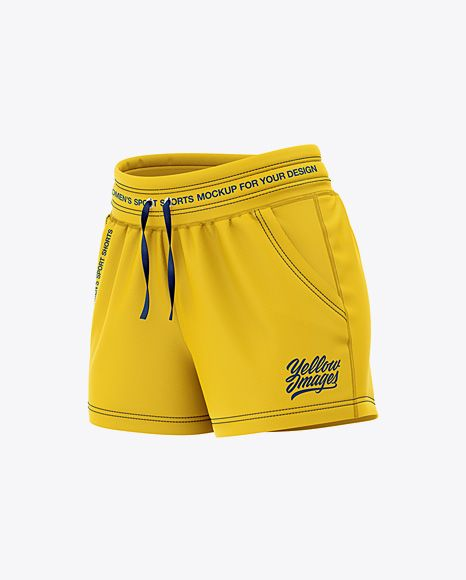 Download Women S Sport Shorts Mockup Front Half Side View In Apparel Mockups On Yellow Images Object Mockups In 2020 Sports Shorts Women Clothing Mockup Design Mockup Free