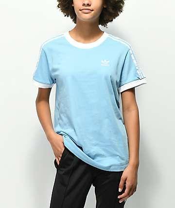 adidas 3 Stripe Light Blue T Shirt in 2019 | Baby blue shirt