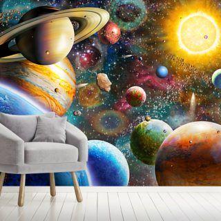 Planets In Space Wallpaper Wallsauce Uk Mural Planets Wallpaper Mural Wallpaper