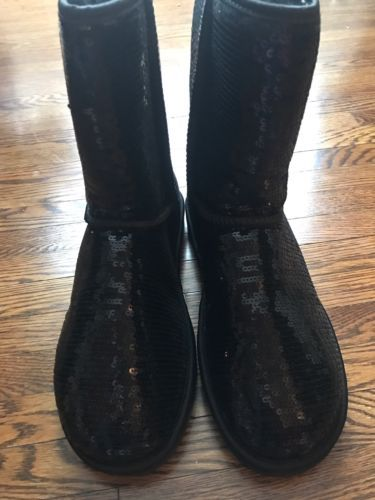 New Black Sequin Ugg Boots Size 9