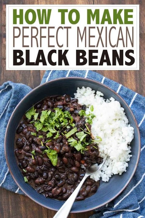 Mexican food recipes 522980575481089182 - Learn how to make black beans with this incredible Mexican dried black beans recipe! It's simple, loaded with flavor and a family favorite! Source by veggiesdontbite Black Bean Recipes, Vegan Mexican Recipes, Vegan Recipes Easy, Vegetarian Recipes, Black Beans Recipe Easy, Mexican Beans Recipe, Kitchen Recipes, Cooking Recipes, Mexican Black Beans