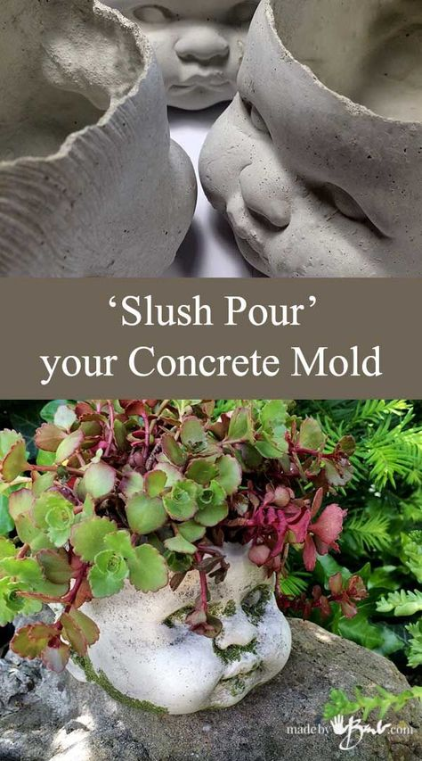Cast your concrete mold with a simpler method of slush pouring. Create a unique head planter or whatever you like! Move over Chia Pets! Slush Pour your own! Source: Slush Pour your Concrete Mold … Cement Art, Concrete Art, Concrete Garden, Paint Cement, Decorative Concrete, Head Planters, Cement Planters, Diy Planters, Garden Planters