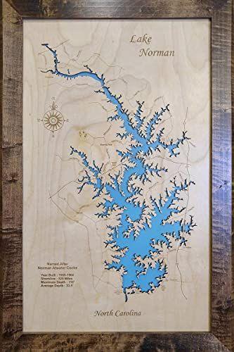 New Lake Norman North Carolina Wood Map Framed Wall Hanging I Handmade 178 99 Topfashionbestsellers Offe In 2020 Lake Norman North Carolina Framed Maps Wood Map