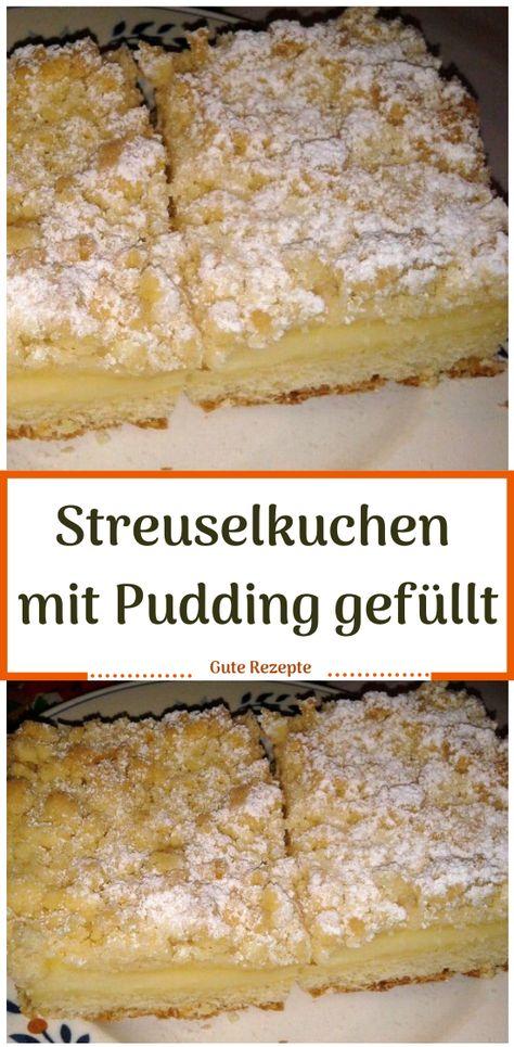 Streuselkuchen mit Pudding gefüllt #Streuselkuchen #Kuchen #Pudding #Rezepte