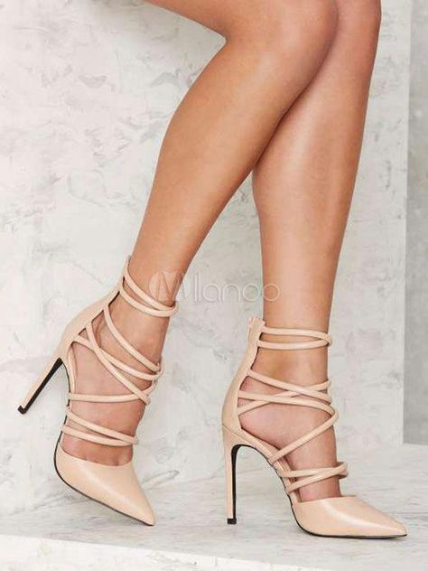 eac204296 Women High Heels Apricot Lace Up Heels Pointed Toe Strappy Shoes  Promheels