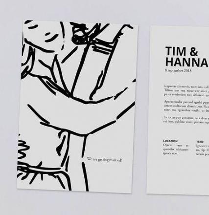 Black and white invite Minimal design Print ready illustrated wedding invitation /'Sweet/'
