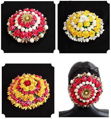 Pink Women Hair accessories Gajra Bun juda Artificial Flower Jewelry Handmade Costume Veni Bun tiara For Women Party Wear Hair juda
