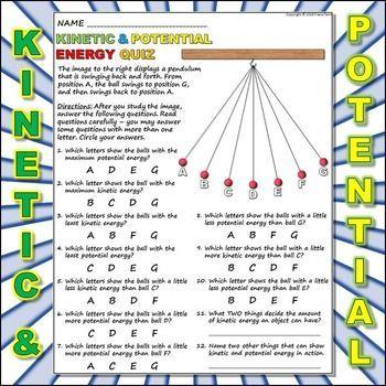 Worksheet Kinetic Vs Potential Energy 3 Physicalscience Physical Science Energy Potential Energy Kinetic And Potential Energy Work Energy And Power