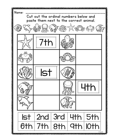 Math Worksheets For Kindergarten Counting Ordinal Numbers Math Worksheets