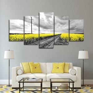 Yellow Fields Pop Multi Panel Canvas Wall Art Flower In 2020 Yellow Wall Art Wall Canvas Yellow Wall Decor