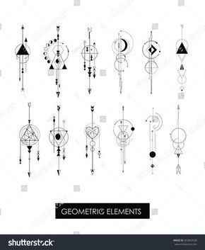 nice Geometric Tattoo - Pack of high quality geometric elements. Sacred geometry.