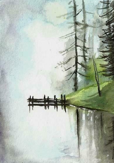 Aceo Malerei Herbst Fluss Brucke Original Herbst Landschaft